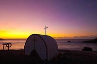 Open Chapel Los Molinos Fuerteventura Canary Islands Spain at sunset.