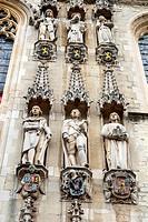 City Hall Facade, Burg Square, Bruges, West Flanders, Belgium.