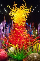 Colored glass sculpture, Chihuly Garden and Glass museum, Seattle, USA.