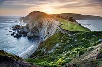 Sunset over the headlands near Chimney Rock, Point Reyes National Seashore California.