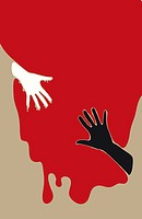 Conceptual illustration of reaching out and trying to save another human. White and black hand reaching for each other in blood.