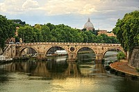 Panoramic view of Tiber River and Vatican City