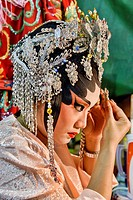 Chinese opera performer prepares for a performance at the Vegetarian Festival in Bangkok, Thailand.
