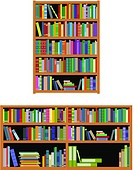 Bookshelf with books isolated on white background for education or interior design