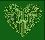 Motherboard computer heart for love concept design