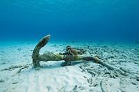 Anchor on the bottom of the sea. Caribbean Sea, Bonaire.