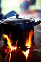 Pot on the open fire, cooking water, Papua, Indonesia, Southeast Asia.
