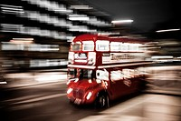 London´s iconic bus at night, London, UK.