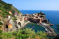 Vernazza in one of the 5 villages built on the sea side called Cinque Terre, Tuscany in North Italy.