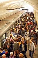 People at Metro station, Moscow, Russia, Europe.
