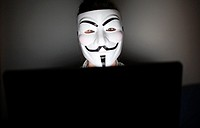 An anonymous masked man is pictured in front of a computer.