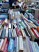 Book sale at a street market, Lleida, Spain