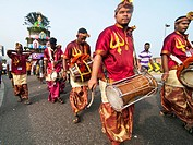 Drummers & percussion players leading a procession during the Thaipusam festival in KL, Malaysia