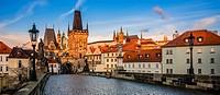 Prague old town center and Charles Bridge, Czech Republic.