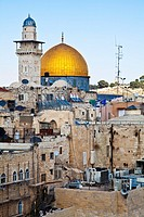 Dome of the Rock dominates the skyline near the Wailing Wall in Jerusalem.