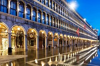 Mirror image in San Marco square in blue hour in Venice Italy