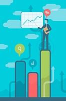 Illustrative image of businessman on bar graph giving presentation representing profit.