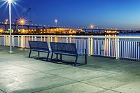 Public benches along San Diego Harbor. San Diego, California, United States.