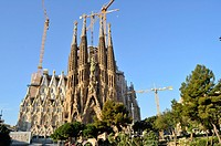 La Sagrada Familia Church. Designed by the architect Antoni Gaudí. Eixample district, Barcelona, Catalonia, Spain.