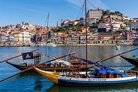 Port Wine Boats, Douro River, Porto, Portugal.