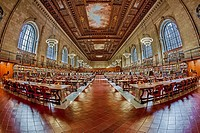 The ornate Rose Main Reading Room at the Stephen A. Schwarzman Building commonly known as the main branch of The New York Public Library located on 5t...
