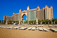 United Arab Emirates, Dubai, Marina Dubai, the Palm Jumeirah, Atlantis hotel.