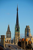 Cathedral Saint romanus tower, central lantern tower, butter tower and Gros Horloge dome, seen from roofs tops, Cathedral Notre Dame (12th c. ), exter...