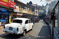 The Hindustan Ambassador, a car manufactured by Hindustan Motors of India, seen from the Darjeeling Toy Train.
