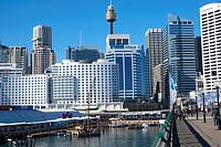 Pyrmont Bridge over Darling Harbour, Sydney City Centre,Australia.