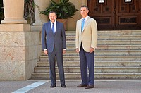 Meeting of Spanish Prime Minister Mariano Rajoy and King Philip VI at the Palace of Marivent, Palma de Mallorca, Balearic Islands, Spain