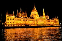 The Parliament building at night in Budapest Hungary.