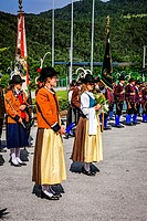 Mebers of the Seefeld Tyrolean band take part in a Sunday parade in Reith bei Seefeld Austria.