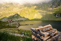 lake Balea near mountain road in Romania