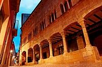 Arcades, sunset, Besalu, Catalonia, Spain