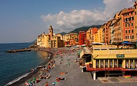 Late summer afternoon on the beach at Camogli, Liguria