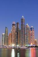 Dubai Marina at Night, United Arab Emirates.