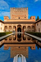 Court of the Myrtles and Comares Tower, The Alhambra, Granada, Region of Andalusia, Spain, Europe.