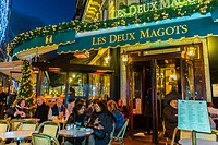 Paris, France, Street Scenes, Tourists Sharing Drinks on Terrace of Les Deux Magots Café, in Latin Quarter, Saint Germain-des-Prés, at Night.