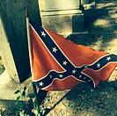Confederate flag on a grave at the graveyard of Christ Church, St. Simon's Island, Georgia.