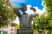 The Conch Blower Statue in Emancipation Square Charlotte Amalie commemorates the Emancipation of the Slaves in the West Indies.