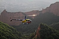 Helicopter at las Medulas Cultural Park Unesco World Heritage, El Bierzo, Castile and Leon, Spain, Europe.
