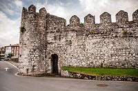 Medieval walls of the Villa de Llanes. Asturias, Spain.