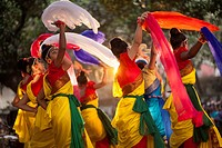 dance performance at the Fine Arts Institute of Dhaka University to celebrate the Basanta Utshab, or Spring Festival Dhaka, Bangladesh.