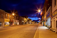 Manitoba St. in downtown Bracebridge at dusk. Ontario, Canada.
