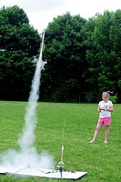 Launching Model Rocket, Wellsville, New York, United States.