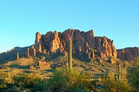 A view of the Superstiton Mountains in Lost Dutchman State Park in Apache Junction Arizona.
