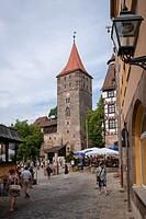 Nuremberg castle courtyard with Heidenturm Heathen Tower, Nürnberg, state of Bavaria, Middle Franconia, Germany, Europe.