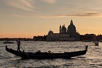 Gondolier in Venice, Veneto, Italy.
