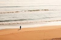 Walking alone on the beach Montrose Angus Scotland.