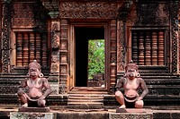 Banteay Srei temple, cntral courtyard with monkey and yaksha guardian figures, siem reap, cambodia.